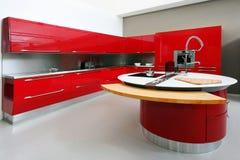 colore rosso interno della cucina Fotografia Stock Libera da Diritti