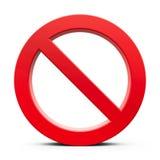 Colore rosso nessun segno Fotografia Stock Libera da Diritti
