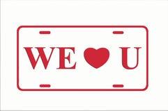 Colore rosso noi cuore voi targa di immatricolazione Immagine Stock Libera da Diritti