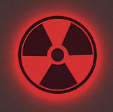 Colore rosso radioattivo del segno Immagini Stock