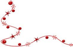 Colore rosso, stelle e fiori della cartolina di Natale Immagini Stock Libere da Diritti