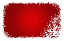 Colore rosso, stelle e fiori della cartolina di Natale Fotografia Stock