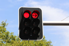 Colore rosso sul semaforo Fotografia Stock