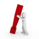 colore rosso umano del contrassegno di esclamazione 3d Fotografia Stock Libera da Diritti