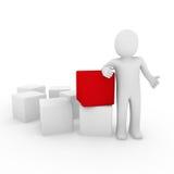 colore rosso umano del cubo 3d Fotografia Stock Libera da Diritti