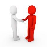 colore rosso umano della stretta di mano di affari 3d ciao Fotografie Stock Libere da Diritti