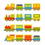 Colore semplice Toy Trains di stile e vagoni messi Vettore Fotografia Stock