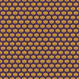 Colore senza cuciture di giallo del modello della zucca di Halloween su fondo lilla per il manifesto della decorazione Fotografia Stock