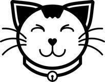 Colore solido dell'icona del gatto di vettore piano felice dell'illustrazione Fotografia Stock Libera da Diritti