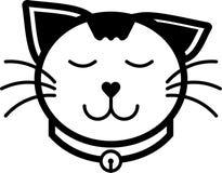 Colore solido dell'icona del gatto di vettore piano felice dell'illustrazione Fotografia Stock