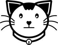 Colore solido dell'icona del gatto di vettore piano silenzioso dell'illustrazione Fotografie Stock Libere da Diritti