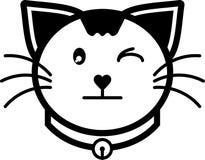 Colore solido dell'icona del gatto di vettore piano silenzioso dell'illustrazione Fotografia Stock