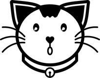 Colore solido dell'icona di miagolio del gatto di vettore piano dell'illustrazione Immagini Stock