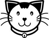 Colore solido dell'icona di sorriso del gatto di vettore piano dell'illustrazione Immagini Stock Libere da Diritti
