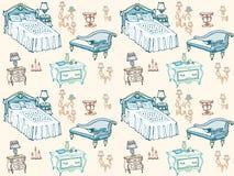 Colore stabilito della camera da letto 2 della mobilia senza cuciture Fotografia Stock Libera da Diritti
