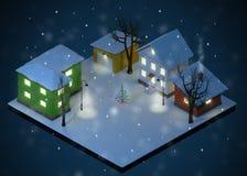 Colore Toy Houses Yard di notte di Natale illustrazione di stock