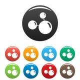 Colore triplo dell'insieme delle icone della molecola illustrazione di stock