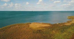 Colore verde smeraldo del mare ed il prato video d archivio