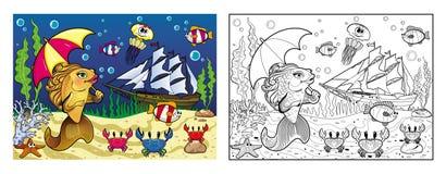 Colorear la parte inferior de mar con un pez de colores Foto de archivo