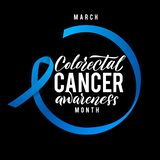 Colorectal Cancer Awareness Month Vector Illustration. Stroke Blue Ribbon. Colorectal Cancer Awareness Month Vector Illustration. Ribbon around letters. Vector royalty free illustration