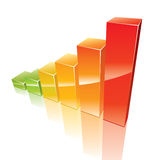 Colored 3d graph growing up Stock Photos
