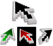 Colored 3D Vector Arrow Cursor. New Version. Stock Photography