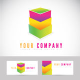 Colored abstract box stack logo Royalty Free Stock Image