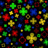 Colored abstract flowers on a black background . Royalty Free Stock Images