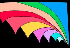Colored abstract geometrical figures - turning page in space. vector illustration
