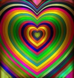 Colored abstract hearts. Abstract colored background image of heart consisting of lines and cubes royalty free illustration