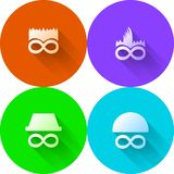 Colored abstract icons for characters. Set of circle colored icons with white silhouette abstract characters on white background vector illustration