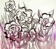 Colored abstract illustration of wildflowers Royalty Free Stock Photos