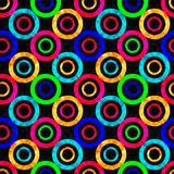 Colored abstract psychedelic geometric circles seamless pattern vector illustration Stock Photo
