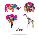 Colored abstract silhouettes of African animals. Royalty Free Stock Photography