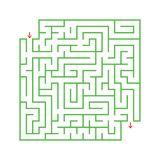 A colored abstract square maze with an entrance and an exit. Simple flat vector illustration isolated on white background. With a. Place for your drawings Royalty Free Stock Photography