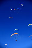 Colored accents in the sky. Paraplanes  in the  blue sky Royalty Free Stock Images
