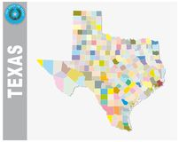Colored administrative and political vector map of us federal state texas with seal.  Stock Image