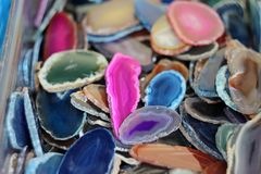 Colored Agate Slabs. Colors are natural or obtained by appropriate chemical processes Stock Image