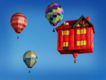 Colored air balloons at the blue sky Royalty Free Stock Photography