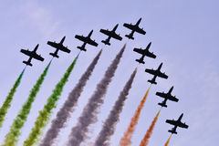 Colored air show. Arranged in arrow-Slovakia Royalty Free Stock Photography