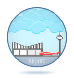 Colored airport in a circle frame. Royalty Free Stock Photo