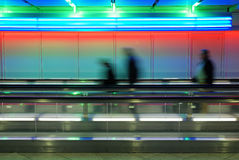 Colored airport walkway. In Munich, Germany Royalty Free Stock Image