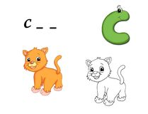 Colored alphabet - C. Alphabet for children. Page with the letter C as cat, with the sketch to be color and the word to be written Royalty Free Stock Photography
