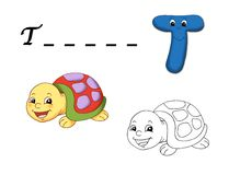 Colored alphabet - T. Alphabet for children. Page with the letter T as turtle with the sketch to be color and the word to be written Stock Photography
