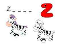 Colored alphabet - Z. Alphabet for children. Page with the letter Z as zebra with the sketch to be color and the word to be written Stock Photo