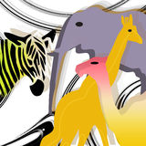 Colored animal. White background with circle and icon animal Stock Photo
