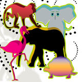 Colored animal. White background with icons animal Royalty Free Stock Photos