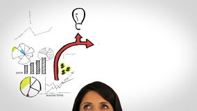 Colored animation showing business plan and a woman watching Stock Photography