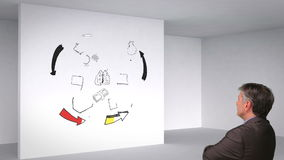 Colored animation showing 3d room and brain having ideas and man watching Royalty Free Stock Photo