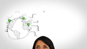 Colored animation showing global consumer behavior and woman watching Royalty Free Stock Photo